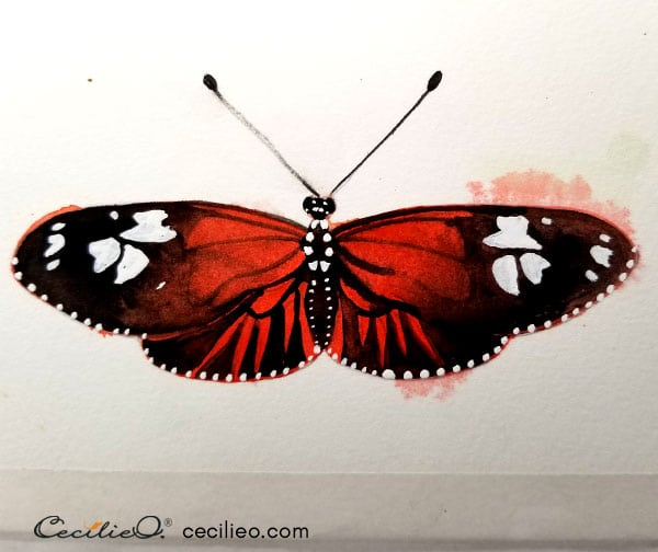 Painting the white pattern on the wings with gouache.