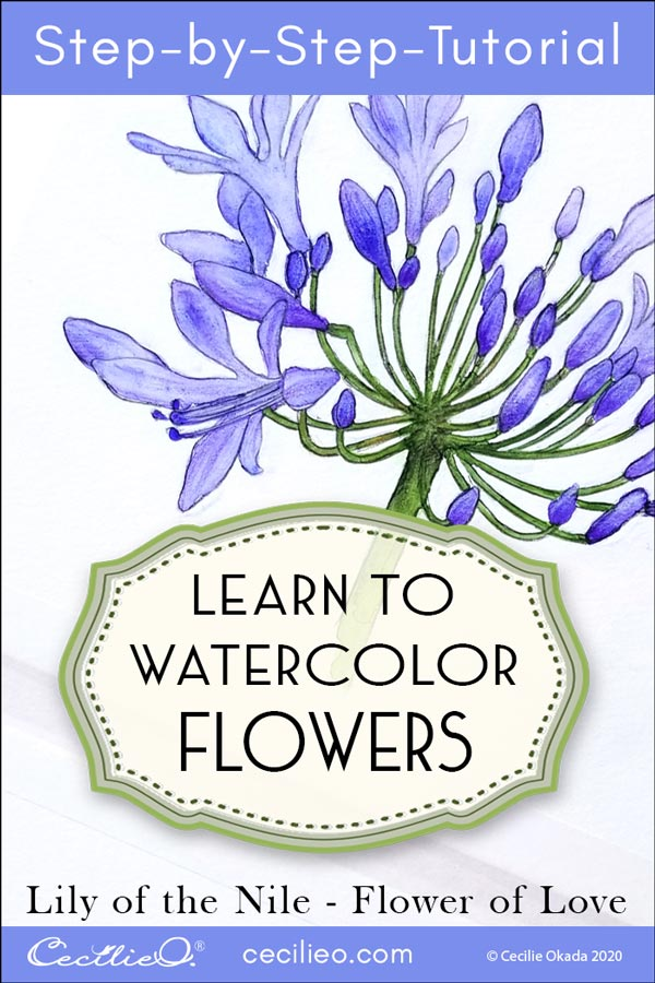 How to Watercolor Lily of the Nile, the Flower of Love