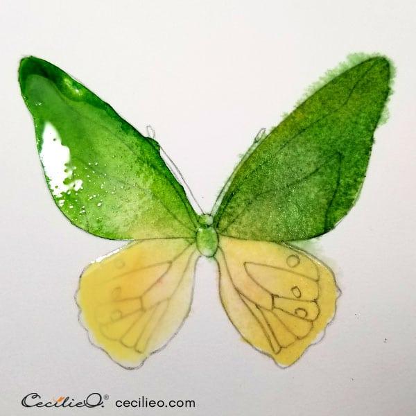 Green and yellow watercolor base