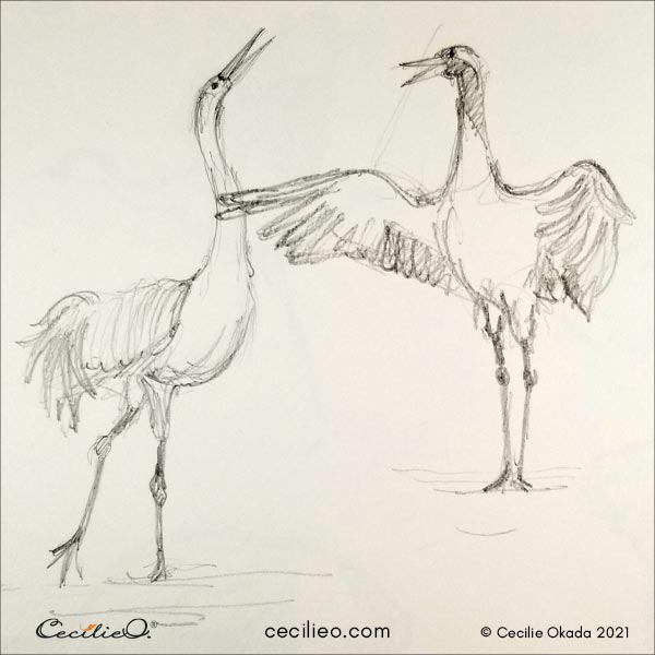 Sketch of cranes engaged in a discussion.
