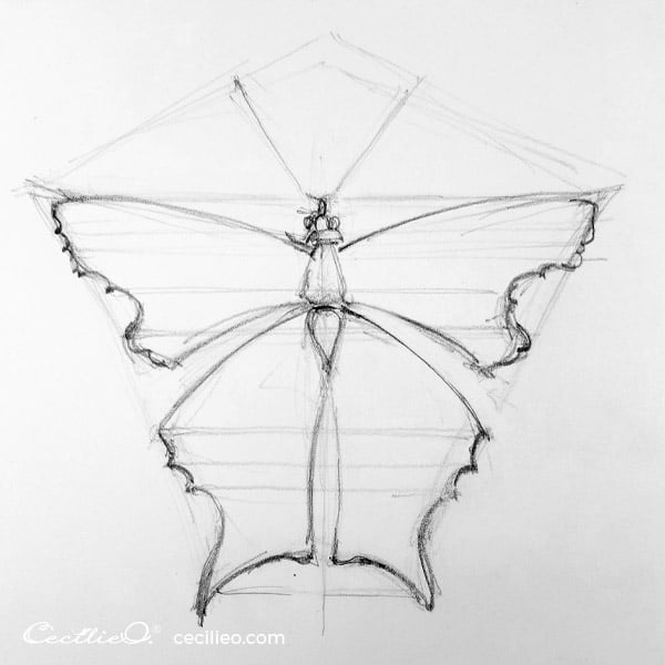 Within the shape you now have constructed, draw the outline of the butterfly