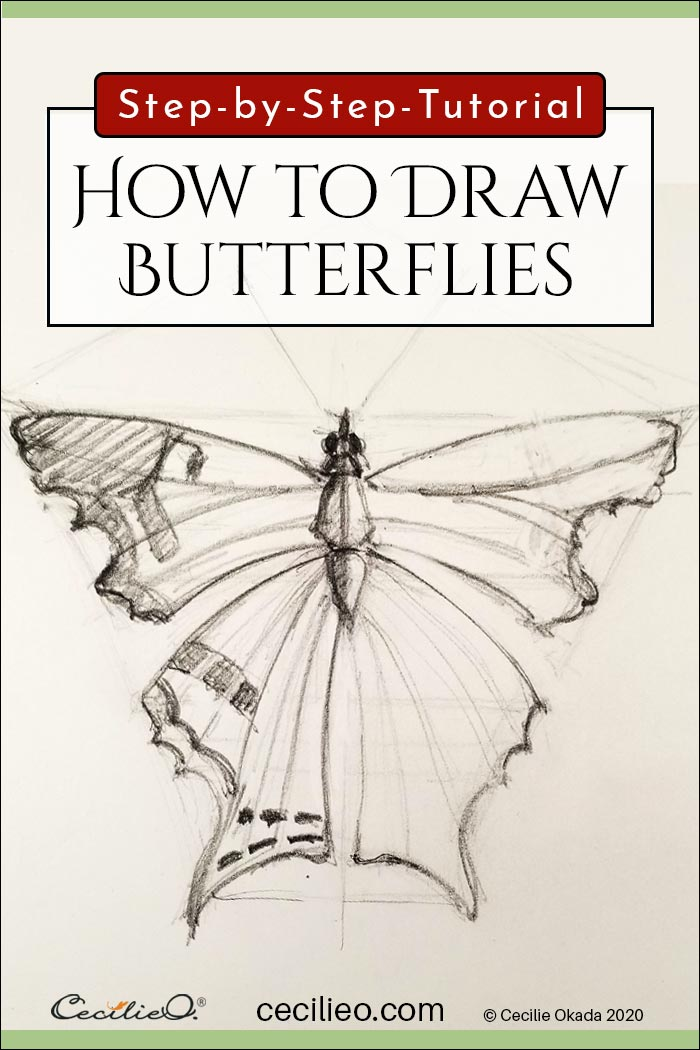 How to draw realistic butterflies. Step by step tutorial