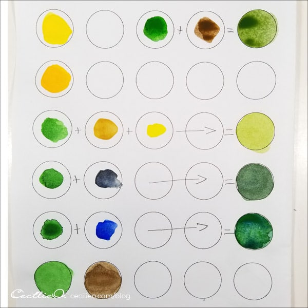 Watercolor swatches used in the painting.
