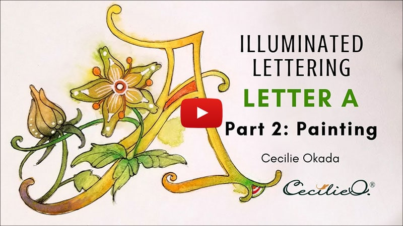 Time-lapse of drawing and painting an illuminated letter A