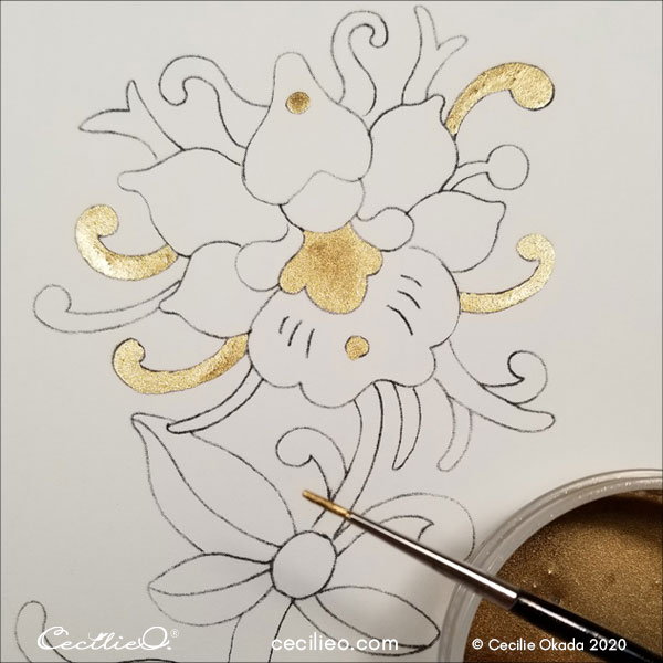 For balance, painting first gold in symmetrical pattern