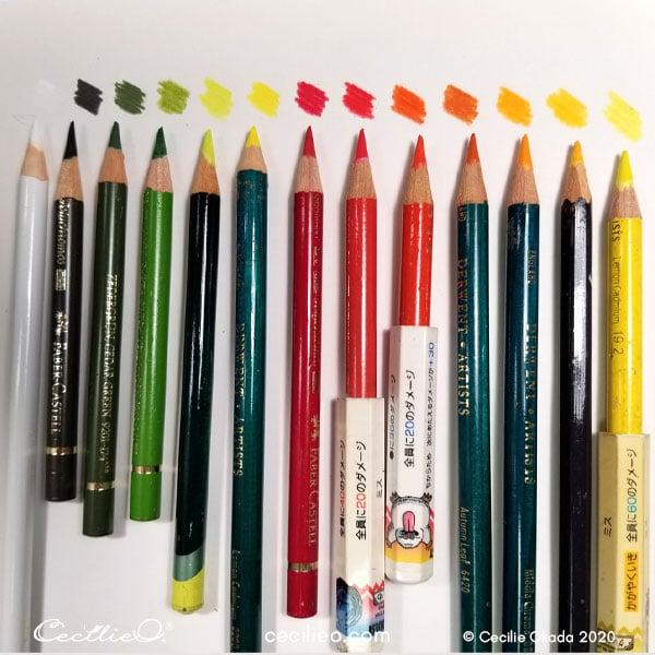 The colored pencils use for retouching.