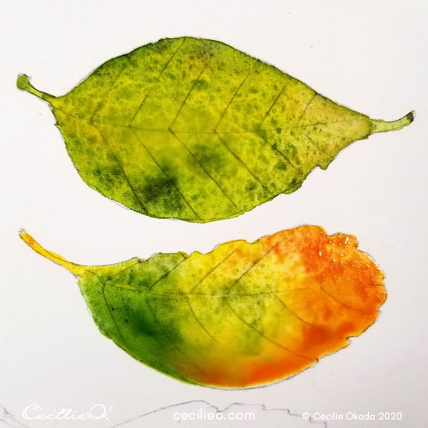 Painting leaf no. two with multiple bright watercolors.