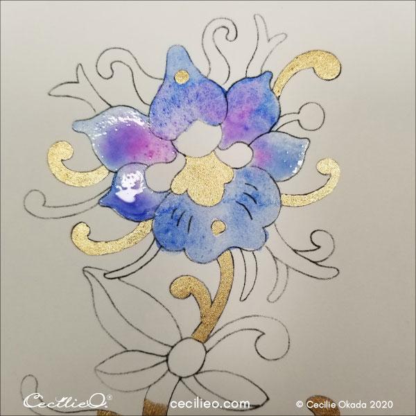 Adding magenta to the petals.