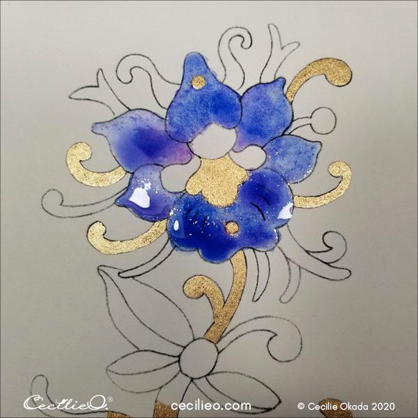 Adding more blue to the petals.