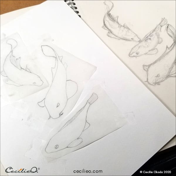 Drawing of koi fish.