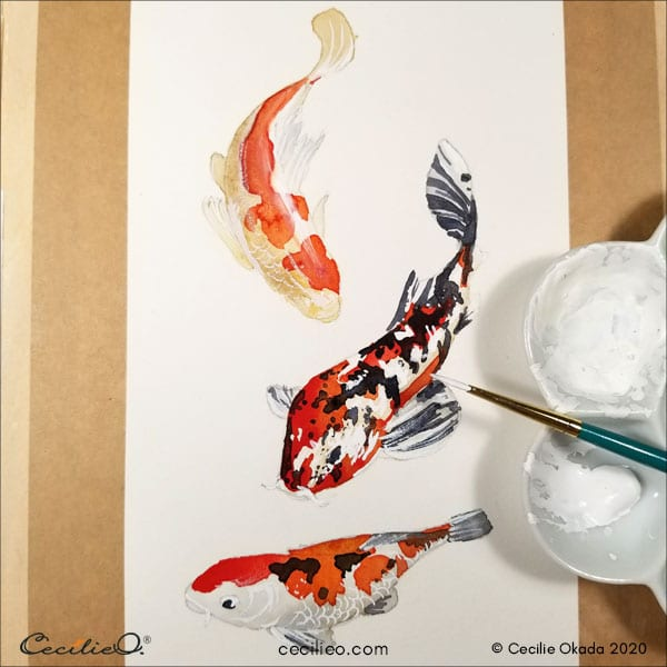 Painting 3D effect with watery white gouache.