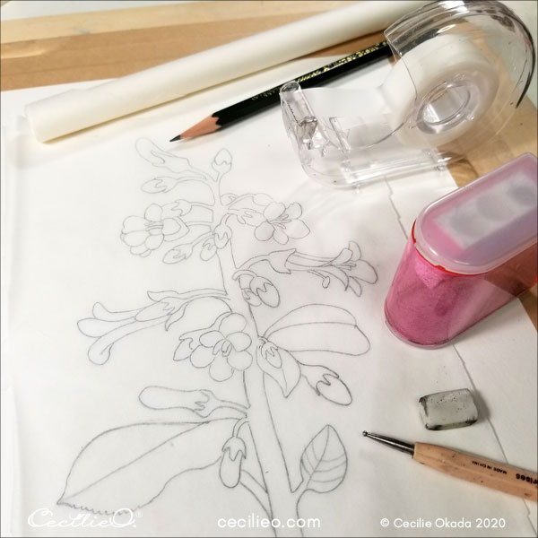 Ready to transfer the outline onto watercolor paper.