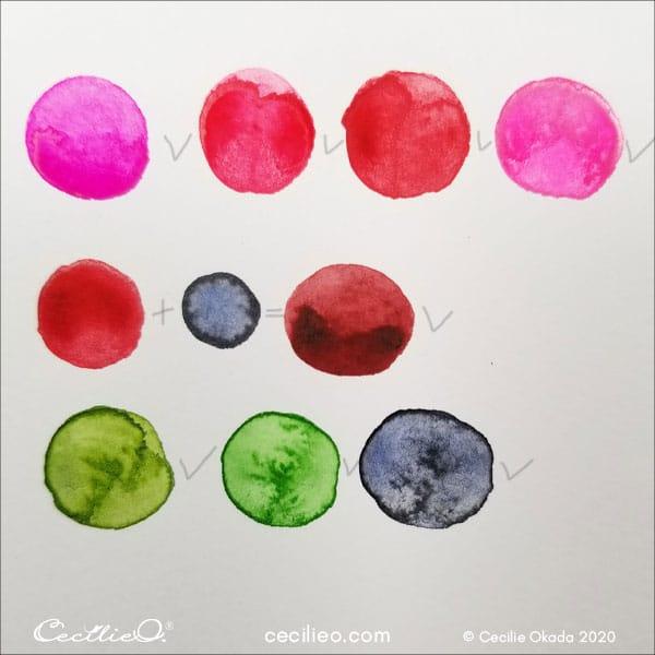 Watercolor color palette.