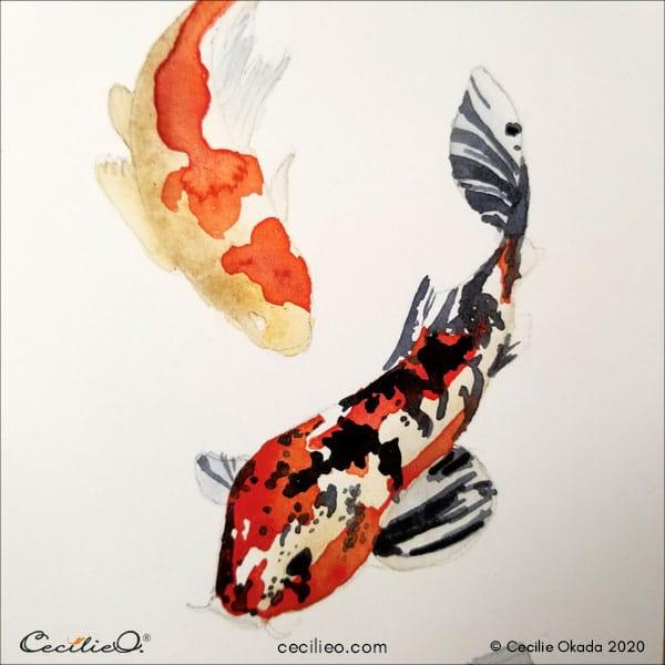 Black watercolor splashes on the koi fish 1.