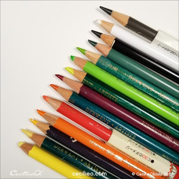 The colored pencils used in this tutorial.
