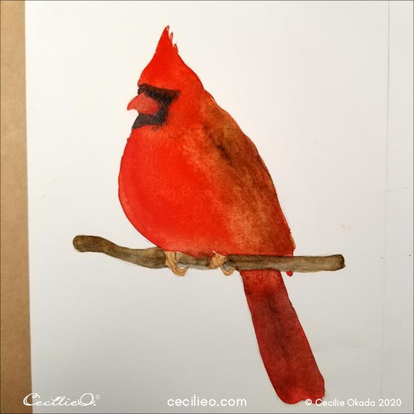 Watercolor with brow and black on certain parts of the bird's body.