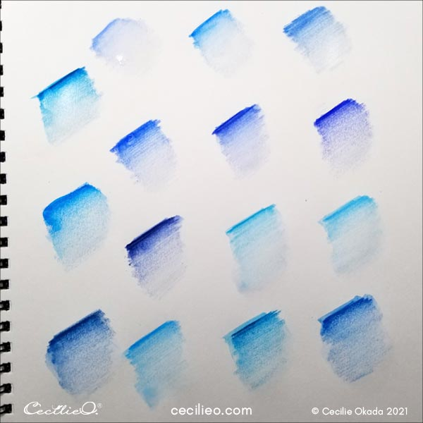 Activating blue watercolor pencils.