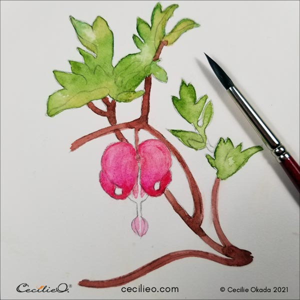 Activating the pink watercolor pencil with water.