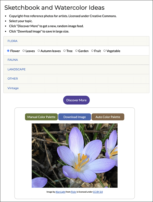 Screenshot of sample page from the ideas tool.