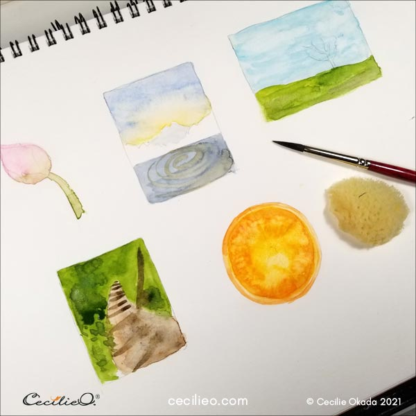 Six small sketches with first layer of watercolor.