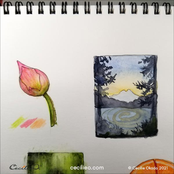 Two completed of a lotus bud and a mountain with details.