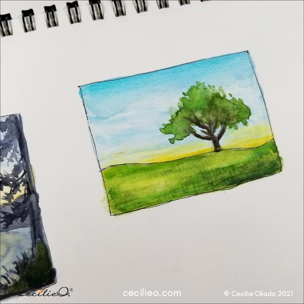 One more completed sketch of a tree.