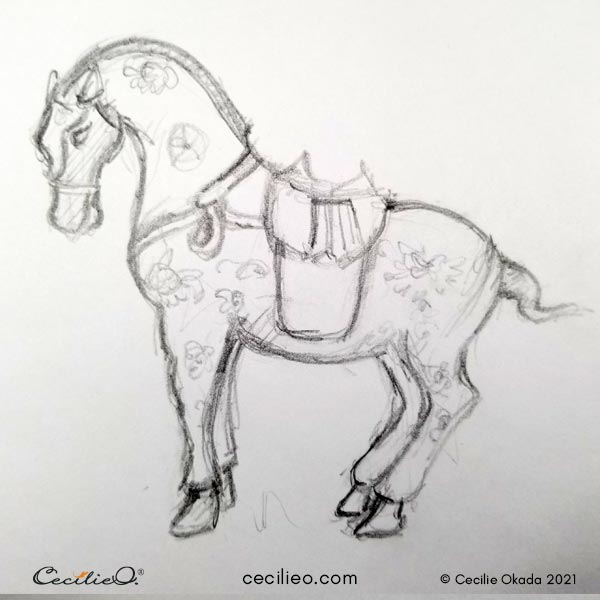 Pencil drawing of a Chinese horse figurine.