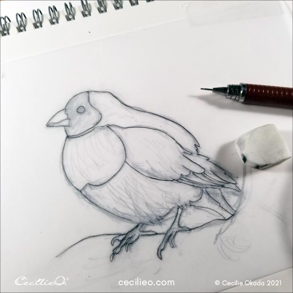 Line art of the bird.