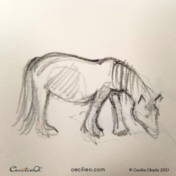 Quick sketch of a grazing horse.