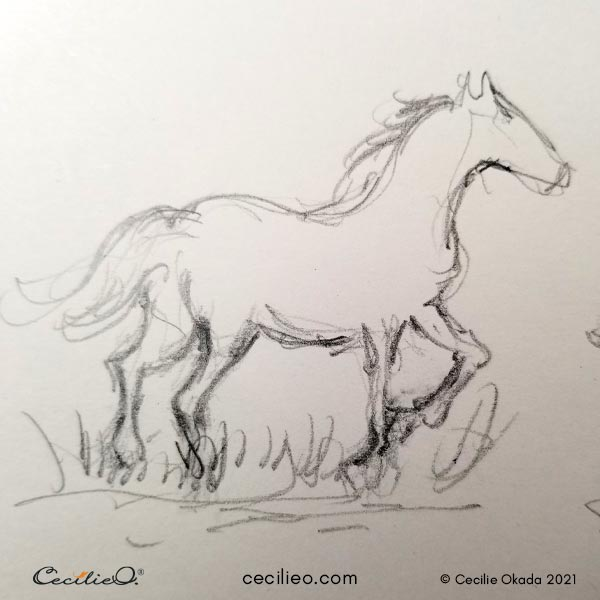 Quick sketch of a running horse.