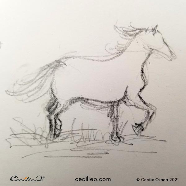 Simple, quick sketch of a running horse.