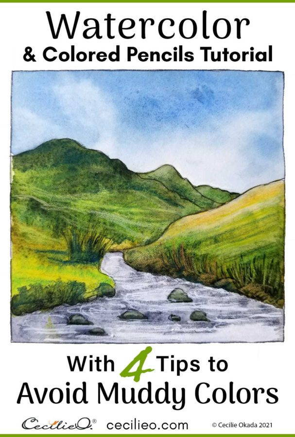 Say goodbye to muddy colors with this watercolor landscape tutorial. 4 tips that include easy, but not so obvious steps.