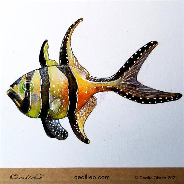 Completed fish watercolor painting.