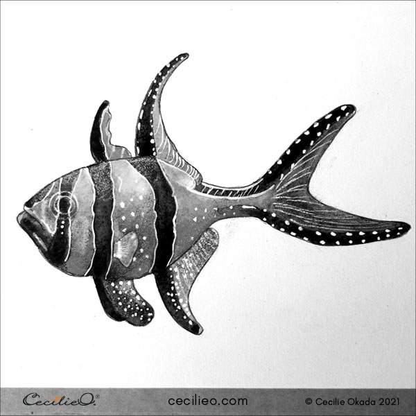 Greyscale version of the completed watercolor fish, to see the color values.