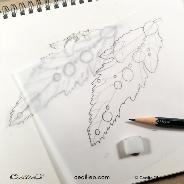 Drawing if the leaf with water drops.