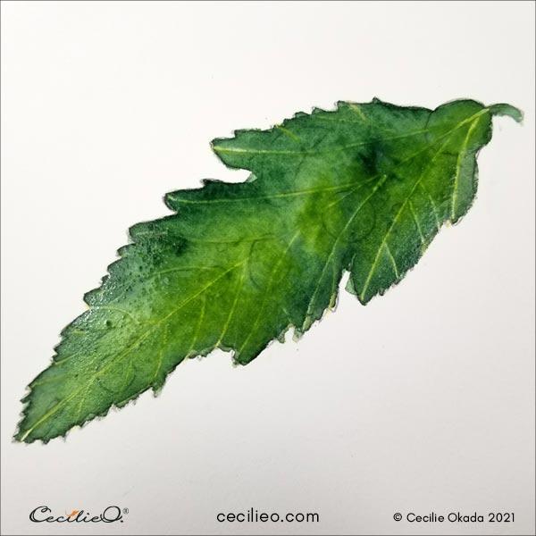New layer of watercolor green hues.