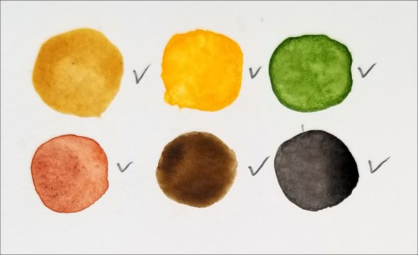 Watercolor palette for the fish painting.