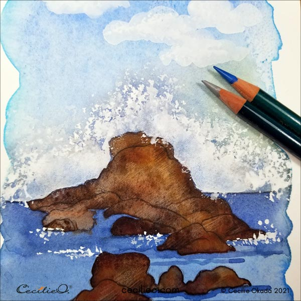 Drawing shadows on the waves with colored pencils.