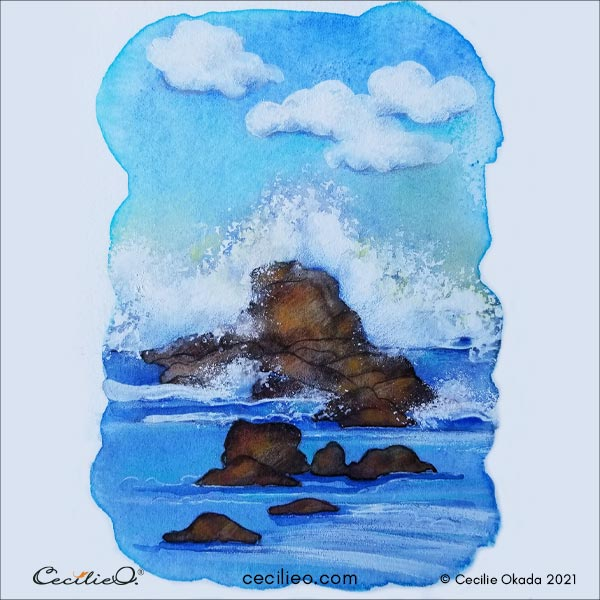 The finished painting with a watercolor wave in a dramatic seascape.
