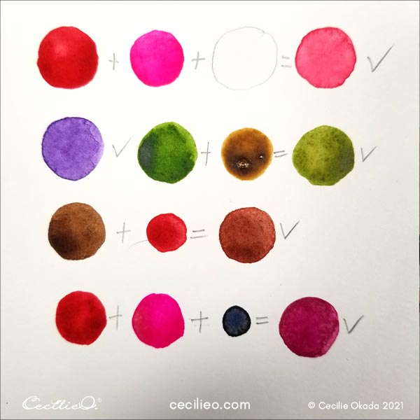 Watercolor color palette for the fuchsia.