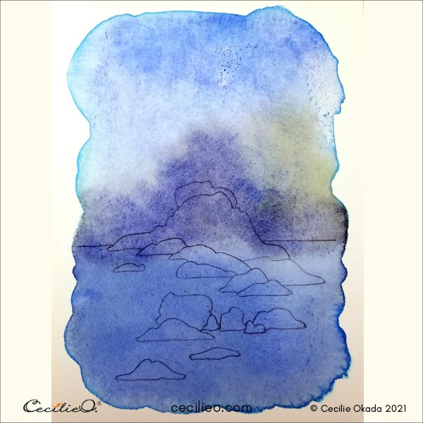 The blue watercolor is now dry.