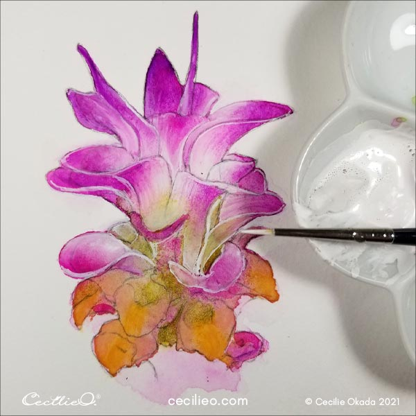 Painting the light areas of the flower with white gouache.