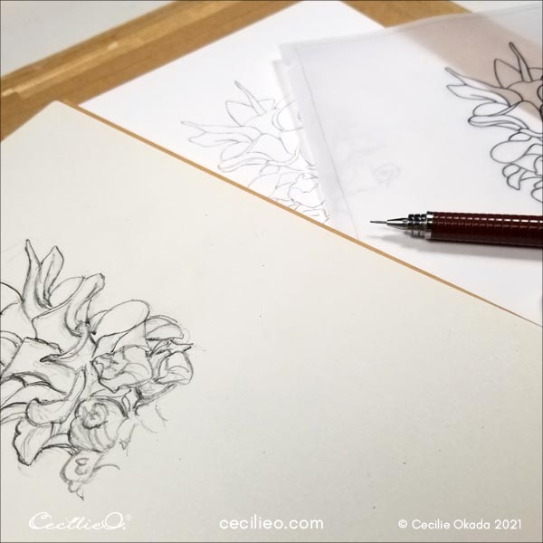 Drawing the flower.