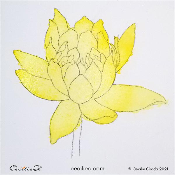 painting the whole flower with a yellow watercolor base.