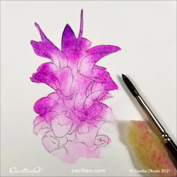 Removing pigments for lighter areas on the flower.