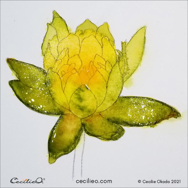 painting the whole lotus with shades of yellow and green.