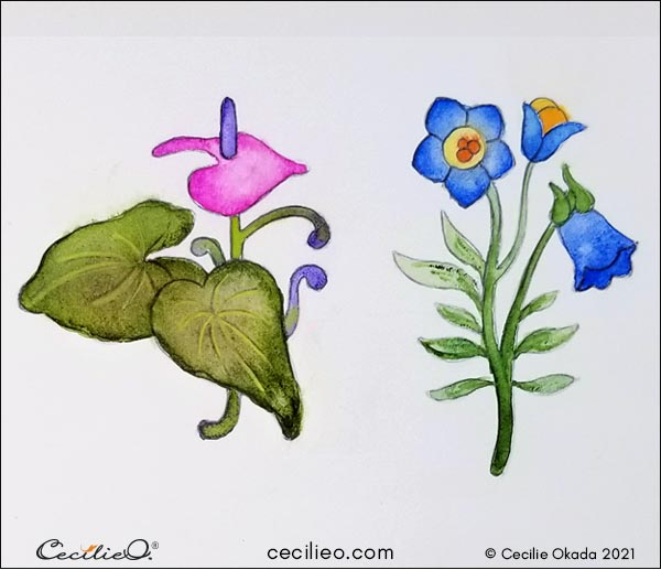 Playful watercolors for creative flower drawings.