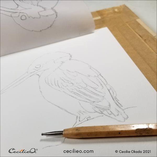 Tracing my drawing onto watercolor paper.