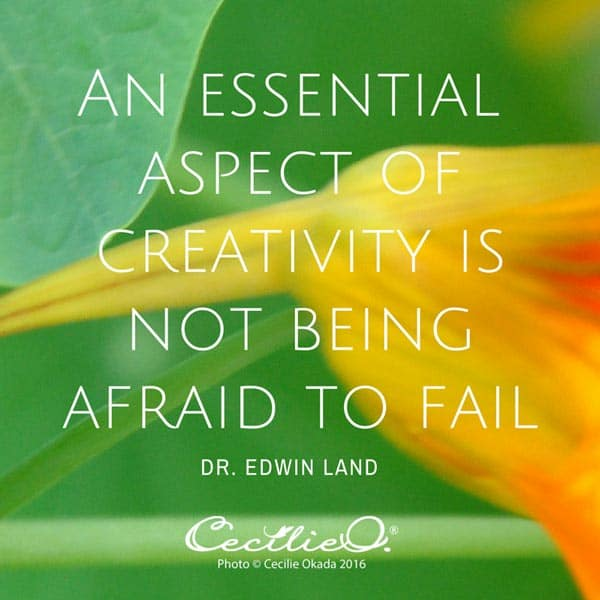 An essential aspect of creativity is not being afraid to fail. - Dr. Edwin Land