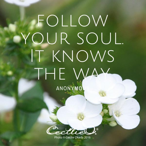 Follow your soul. It knows the way. - Anonymous.